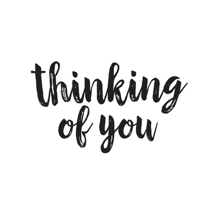 thinking of you: Thinking of you handwritten lettering Illustration