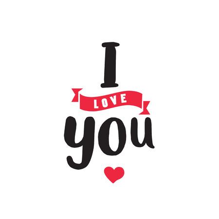 I Love You Inscription and Ribbon Illustration