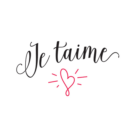 french culture: Je taime lettering with shining heart