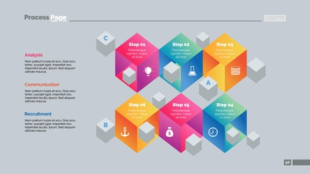 Six 3d cubes process chart. Business data. Step, diagram, design. Creative concept for infographic, templates, presentation, report. Can be used for topics like marketing, training, production. Illustration
