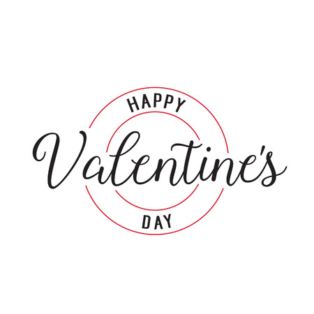 Happy Valentines Day lettering. Saint Valentines Day design element. Typed and handwritten text, calligraphy. For greeting cards, posters, leaflets and brochures.