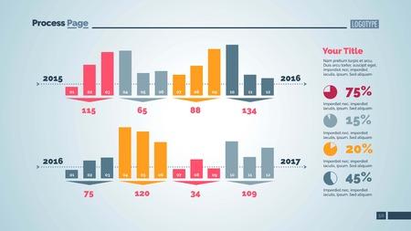 Vier Gruppen von Balkendiagramm Spalten Slide