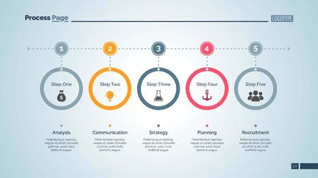 Five Step Process Chart Slide Template Illustration