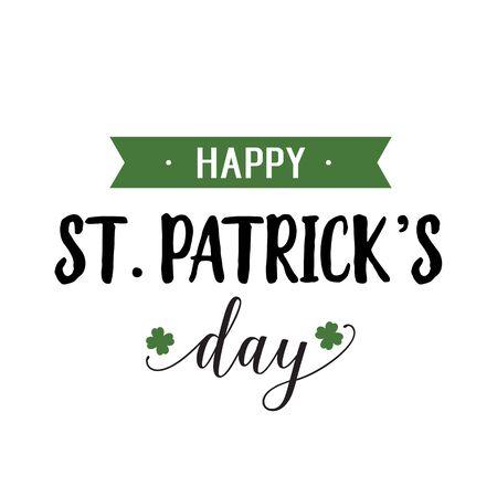 patrick: Happy St. Patrick Day Inscription, Ribbon Illustration