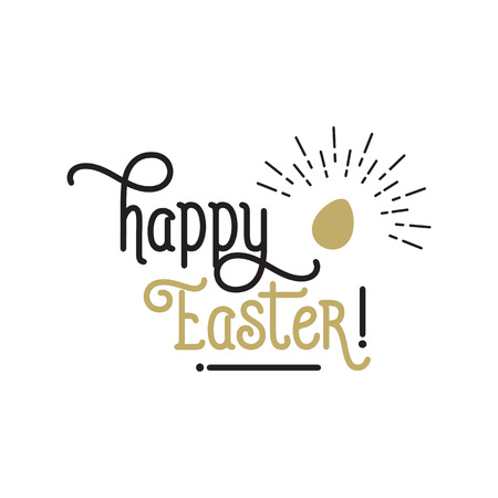 Happy Easter lettering with shining egg