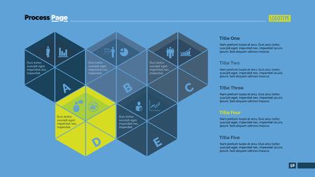 Five Segmented Hexagons Slide Template Illustration