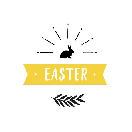 Easter Lettering, Ribbon and Rabbit