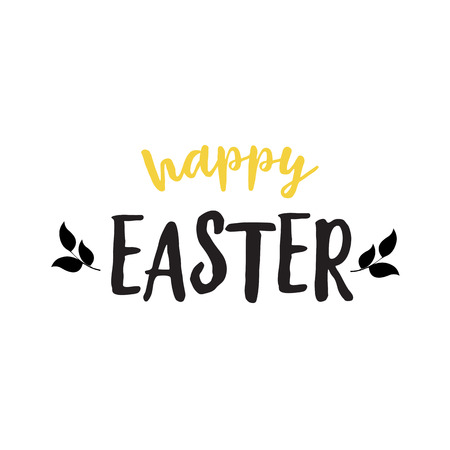 Happy Easter Lettering With Leaves