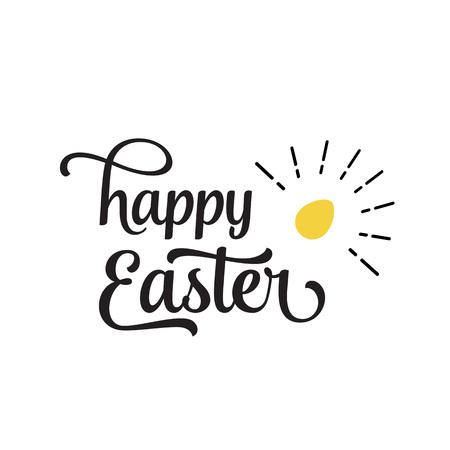 Happy Easter Lettering, Shining Egg Illustration