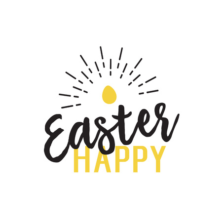 Happy Easter Lettering and Shining Egg
