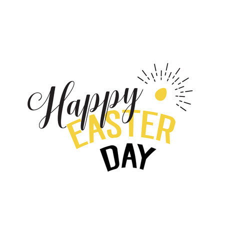 Happy Easter day lettering and shining egg Illustration