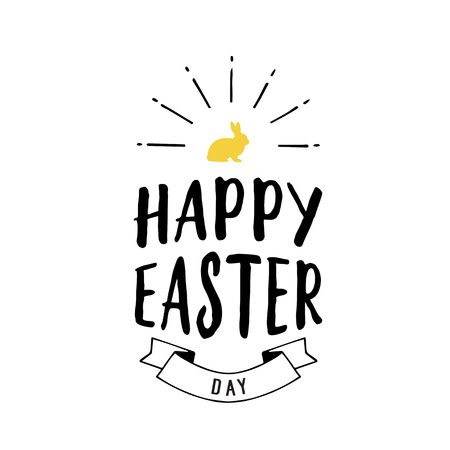 Happy Easter Day lettering with bunny.