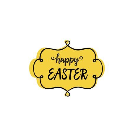 Happy Easter Lettering in Figured Frame Illustration