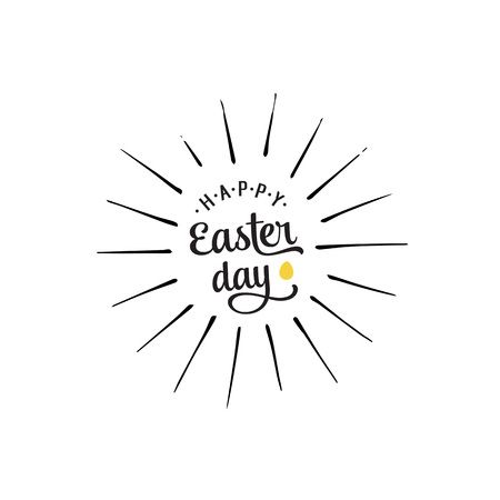 Shining Happy easter day lettering and egg