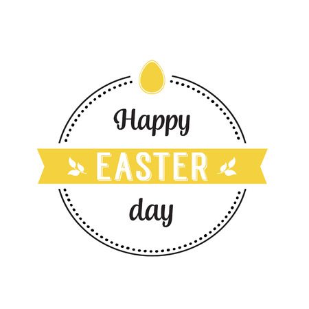 Happy Easter Day Lettering in Circle