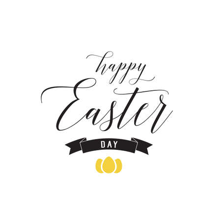 Happy Easter Day Lettering, Ribbon, Eggs