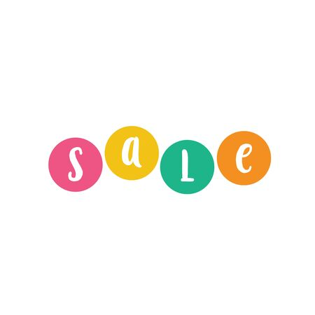Sale Lettering on Colored Circles
