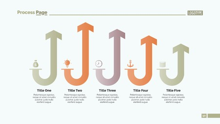 rounding: Five Rounded Arrows Slide Template Illustration