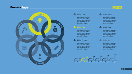 six point: Six circles process chart slide template. Business data. Option, diagram, design. Creative concept for infographic, presentation. Can be used for topics like management, strategy, training. Illustration
