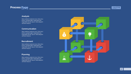 Creative cube diagram slide template. Element of chart, infographic, template. Illustration