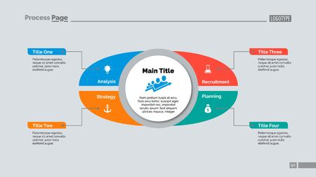 Four Points Strategy Slide Template Illustration