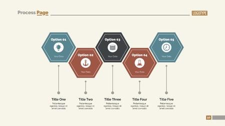 Five Hexagon Steps Slide Template Illustration