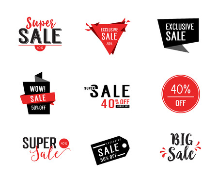 exclusive: Nine Red and Black Sale Letterings Set Illustration