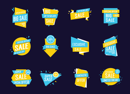 exclusive: Sale lettering in creative shapes set Illustration
