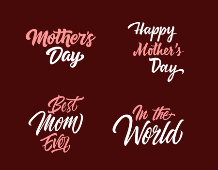 Four Mothers Day Letterings Set