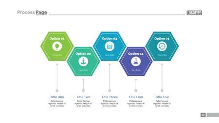 Five Hexagon Steps Slide Template Vettoriali