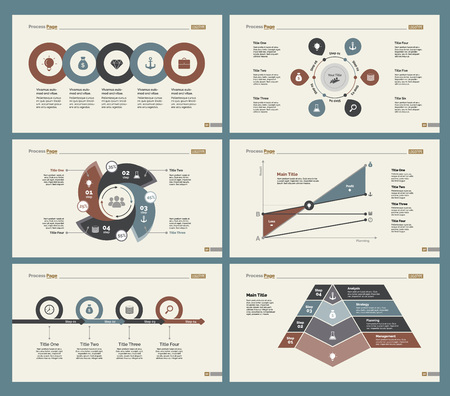 review: Six Analytics Slide Templates Set Illustration