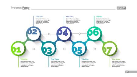 reviews: Seven circles slide template. Business data. Graph, diagram, vector illustration.