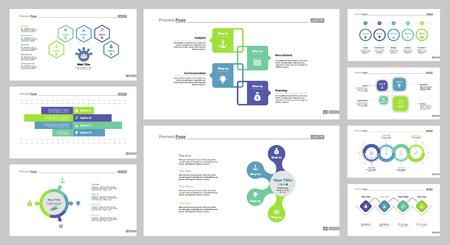 reviews: Nine Management Slide Templates Set vector illustration.