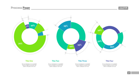 Diagrams with percent data slide template. Illustration
