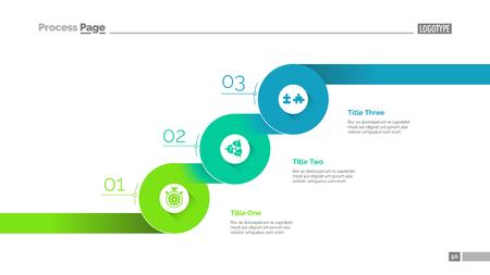 Three progressive steps slide template Vector Illustration