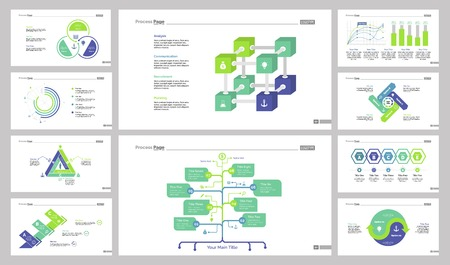 Data organization design set can be used for workflow layout, annual report, presentations. Business concept. Process, pie, triangle, organizational, cube, scatter plat, percentage bar, option charts