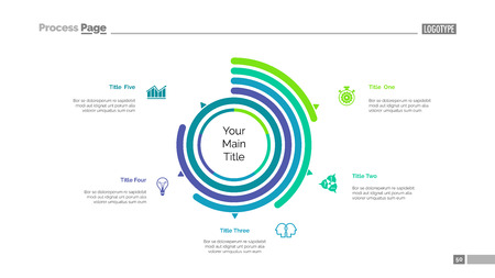 Five options doughnut chart slide template. Business data. Arc, performance, design. Creative concept for infographic, presentation. Can be used for topics like management, statistics, analytics.