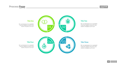 Four circles process chart slide template. Business data. Step, diagram, design. Creative concept for infographic, presentation. Can be used for topics like management, production, teamwork. Stock Illustratie