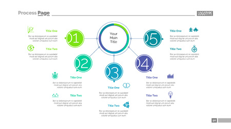 Five Points Workflow Slide Template vector illustration