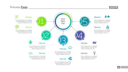 Five Points Workflow Slide Template vector illustration