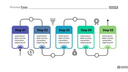 Five Steps of Workflow Slide Template vector illustration