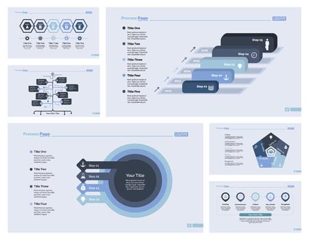 Sechs Business Slide Vorlagen Set Vektorgrafik