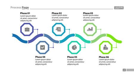Six phase process chart design Ilustrace