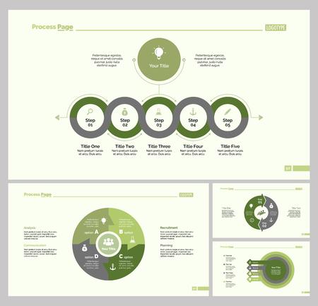 round: Four Training Slide Templates Set Illustration