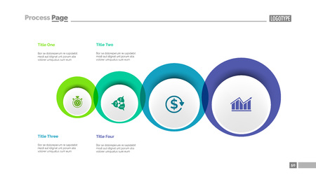 Four circles process chart slide template. Business data. Point, diagram, design. Creative concept for infographic, presentation. Can be used for topics like management, strategy, logistics.