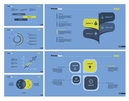 Six Statistics Slide Templates Set Illustration