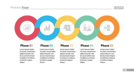 Secuencia de cinco fases Plantilla de diapositiva