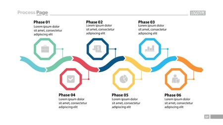 Six phase process chart design Ilustrace