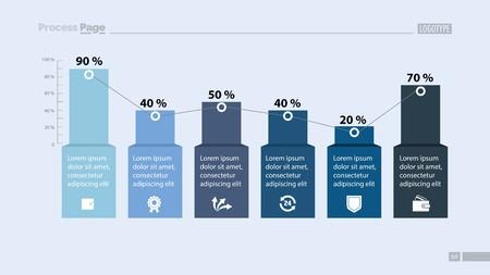 Percentage Bar Chart with Six Elements 일러스트