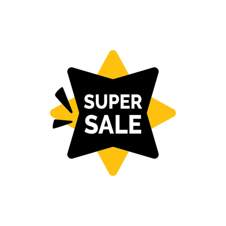 Super Sale Lettering on Four-pointed Star Illustration
